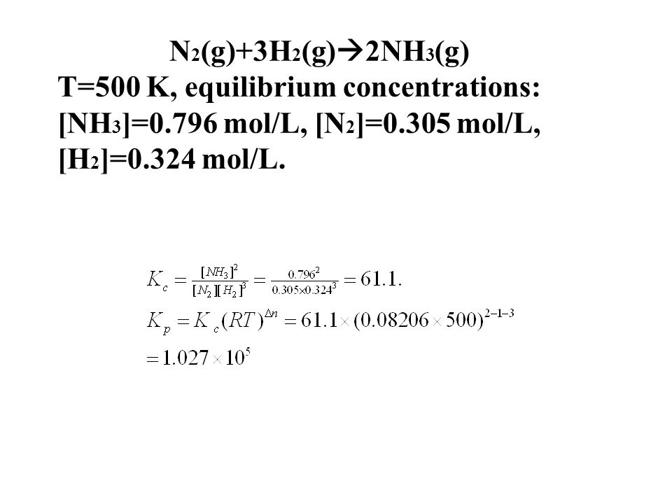 N2(g)+3H2(g)2NH3(g) T=500 K, equilibrium concentrations: [NH3]=0